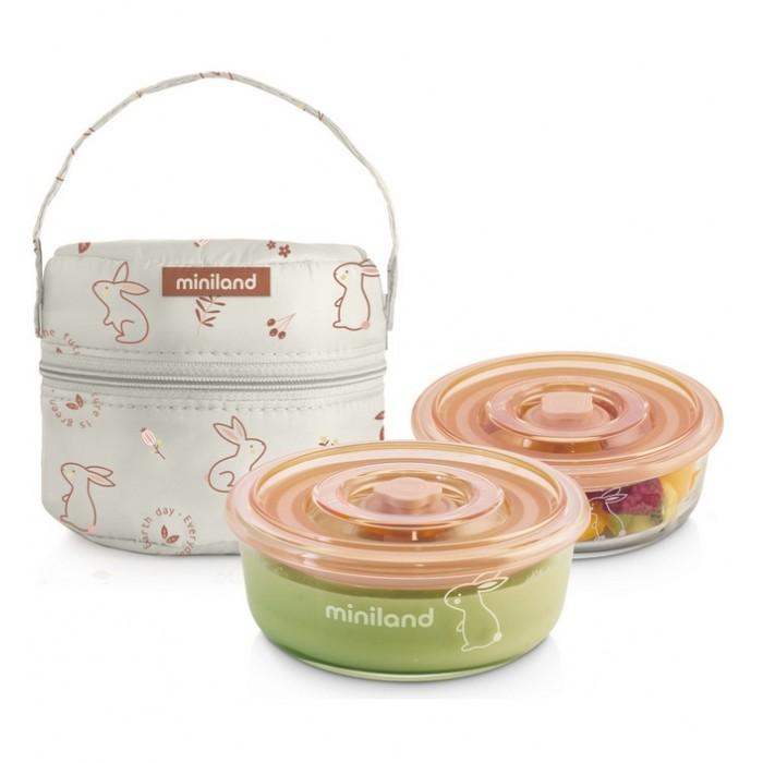 Купить Термосумки, Miniland Термосумка Pack-2-Go Naturround с двумя стеклянными круглыми контейнерами