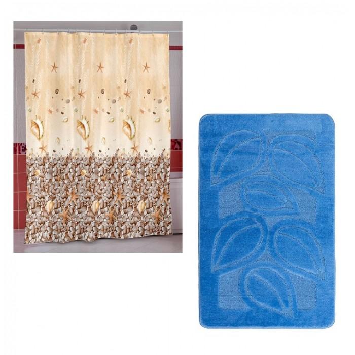 Купить Шторы для ванны, Miranda Шторы для ванн полиэстер Subaqua 180х200 см с ковриком для ванны Confetti 50х80 см