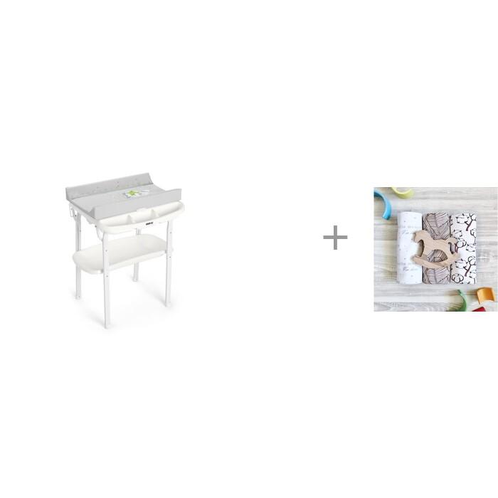Пеленальный столик CAM Aqua с ванночкой и пеленка Mjolk Хлопок/Palm Tree/Hello mommy 120х85 см Aqua с ванночкой и пеленка Mjolk Хлопок/Palm Tree/Hello mommy 12