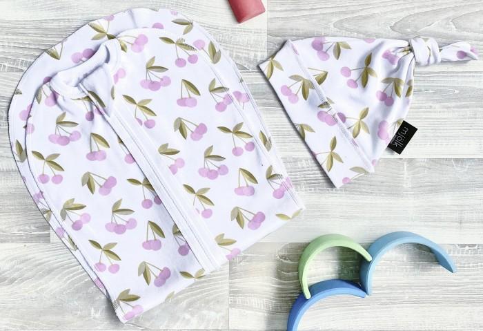 Фото - Пеленки Mjolk Кокон и шапочка Черешня текстильные салфетки mjolk набор платочков слюнявчиков черешня
