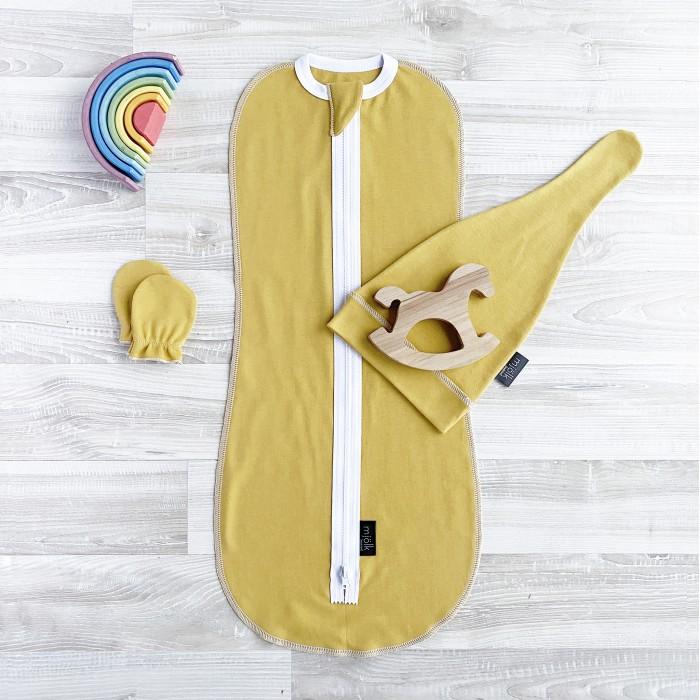 Купить Пеленки, Пеленка Mjolk Комплект Mustard set (кокон, шапочка, антицарапки)