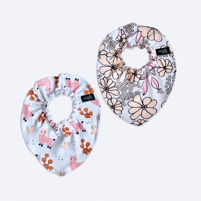 Картинка для Нагрудники Mjolk Mini для девочки Ламы/Spring Blossoms 2 шт.