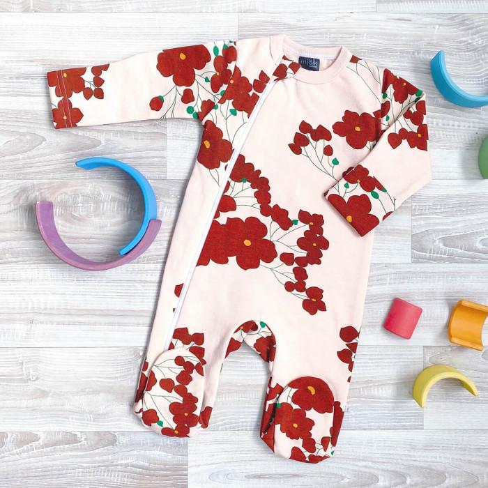 Боди, песочники, комбинезоны Mjolk Утеплённый комбинезон с закрытой ножкой для девочки Sleep and Play Цветы