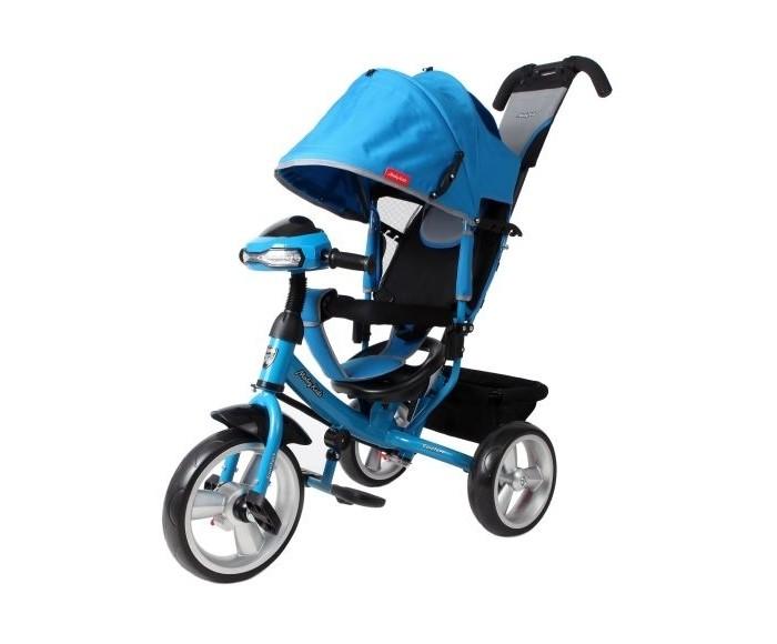 Велосипед трехколесный Moby Kids Comfort 12x10 EVA CarComfort 12x10 EVA CarMoby Kids Велосипед трёхколёсный Comfort 12x10 EVA Car Одним из главных преимуществ модели является наличие переключателя «свободного хода» переднего колеса. При включении данной функции ребёнок сможет крутить педали вхолостую отдельно от колеса, привыкая таким образом к новому для него виду движения. А встроенная светомузыкальная панель «машинка» на руле превратит прогулку малыша в настоящее увлекательное приключение!  Особенности:  металлическая рама колеса из прочного материала EVA, обод выполнен из пластика диаметр переднего колеса составляет 30 см (12), диаметр задних колёс - 25 см (10) переключатель свободного хода переднего колеса двойная телескопическая ручка-толкатель с сумочкой фиксируется в двух положениях (выше-ниже) светомузыкальная панель «машинка» с наклейками - реалистичные автомобильные звуки, весёлая мелодия, свет фар мягкий вкладыш-«кенгуру» на сидении сиденье с высокой спинкой фиксируется в трех положениях съемный мягкий подголовник складной тент колясочного типа с фиксаторами положения ножной тормоз съемная раздвижная дуга безопасности с мягкими подлокотниками ремень безопасности складные подставки для ног тканевая багажная корзина на металлическом каркасе<br>