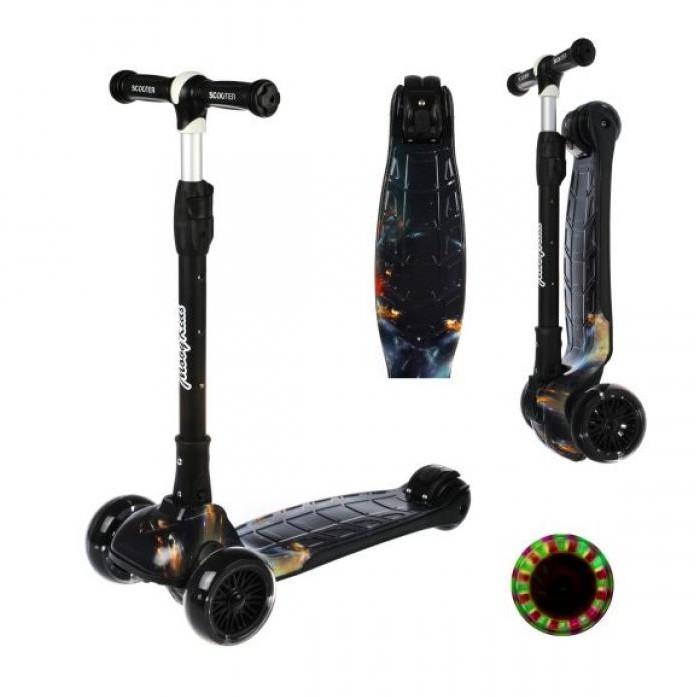 Картинка для Трехколесный самокат Moby Kids со светящимися колесами и принтом складной 120 мм PU