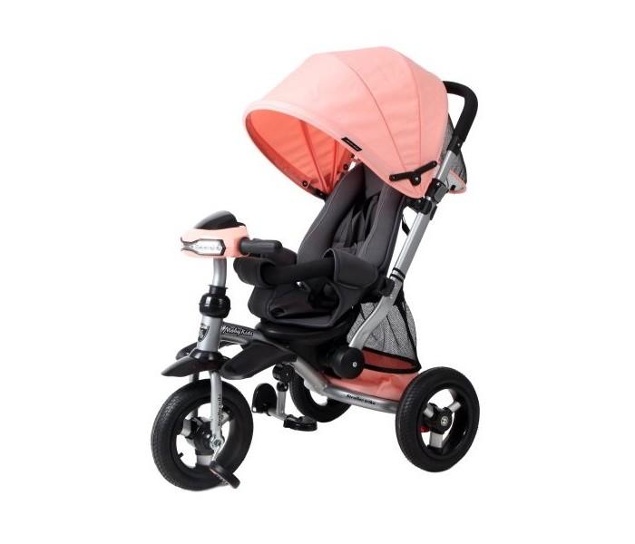 Велосипед трехколесный Moby Kids коляска Stroller trike AIR CarТрехколесные велосипеды<br>Moby Kids Велосипед-коляска трёхколёсный Stroller trike AIR Car  является прекрасным сочетанием функциональности и интересного дизайна. Данную модель обязательно оценят те, кому важно максимальное удобство ребёнка во время прогулки. Особенность велосипеда-коляски заключается в том, что заднюю спинку можно разложить до горизонтального положения. Эта функция в сочетании с креслом повышенной комфортности позволит ребёнку поспать на свежем воздухе, если он устанет. Ручка-толкатель колясочного типа обеспечивает более уверенное управление и высокую маневренность. Также в модели предусмотрена интересная опция - руль с функцией отключения. Рулевая колонка оснащена втулкой с функцией «отключения», подняв которую, ребёнок сможет крутить руль вхолостую и не влиять таким образом на ход движения.   Особенности:  металлическая рама алюминиевый обод с подшипниками диаметр колес составляет 25 см (10) переключатель свободного хода переднего колеса ручка-толкатель колясочного типа регулируется по высоте (выше-ниже) светомузыкальная панель «машинка» с наклейками - реалистичные автомобильные звуки, весёлая мелодия, свет фар рулевая колонка оснащена втулкой с функцией «отключения» мягкий вкладыш «кенгуру» повышенной комфортности «люкс» с высокой спинкой и боковыми валиками уровень наклона спинки плавно регулируется ремешком (до 30 градусов – положение «сон») складной тент колясочного типа с фиксаторами положения и регулировкой по высоте ножной тормоз раздвижная дуга безопасности с мягкими подлокотниками складные подставки для ног и дополнительные съемные подставки для ног комфорт тканевая багажная корзина на металлическом каркасе