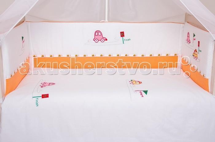 Бортик для кроватки Мой Ангелочек Весёлый старт с вышивкойВесёлый старт с вышивкойМой Ангелочек Бортик в кроватку с вышивкой Весёлый старт 240020  В комплекте: Бортик с вышивкой на молнии 40х60 см - 1 ед; 40х60 см - 1 ед; 40х120 см - 2 ед  Особенности: Ткань: бязь люкс/сатин Состав ткани: 100%  хлопок Плотность ткани: 120/110 гр/м2 Наполнитель: термофайбер Состав наполнителя: 100% п/э Плотность наполнителя: 550 гр/м2 Упаковка: сумка - чемодан<br>