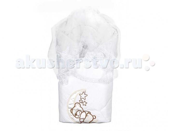 Комплект на выписку Мой Ангелок Мишка на Луне (8 предметов)Мишка на Луне (8 предметов)Комплект для выписки малыша Мой ангелок Мишка на Луне очень праздный и красивый, придаст событию особой торжественности. В набор входят только практичные и полезные элементы.  Конверт-одеяло выполнено из сатина и кружева. В разложенном виде его можно использовать как классическое одеяло Уголок кружевной придает вычурности и праздности набору, которая не всегда уместна в повседневной жизни, поэтому для использования набора каждый день, уголок можно изъять Также в набор входит 2 пеленочки из ситца и фланели В качестве теплого мягкого наполнителя для одеяла используется файберпласт  Комплектация: конверт-одеяло (100х100 см), уголок кружевной, пеленки 2 шт. (1 шт. - ситец, 1 шт. фланель), распашонка 2 шт. (1 шт. - ситец, 1 шт. фланель), шапочки 2 шт. (1 шт. - ситец, 1 шт. фланель). Состав: сатин (100% хлопок), фатин, кружево, фланель, ситец, шевро  Наполнитель файберпласт (гиппоалергенно) Допускается машинная стирка при 30-40 °С<br>
