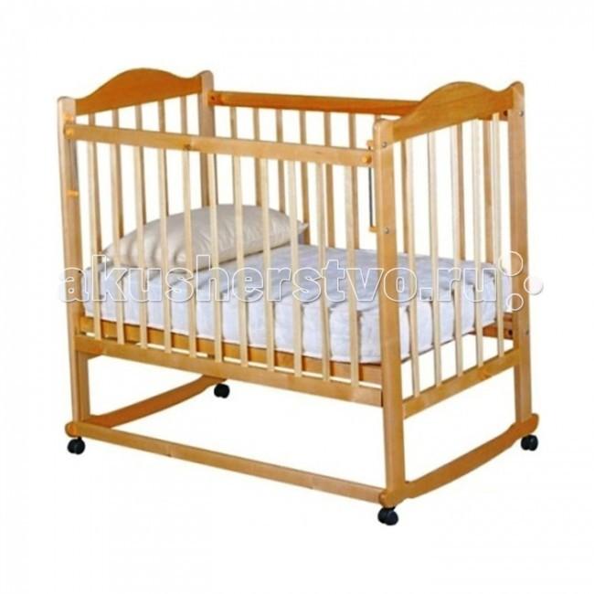 Детская кроватка Ивашка Мой малыш 5 колесо-качалкаМой малыш 5 колесо-качалкаДетская кроватка Ивашка Мой малыш 5 колесо-качалка выполнена из экологичных, гипоаллергенных материалов.   Кроватка обладает высоким качеством и комфортом, как для ребенка, так и для родителей. Благодаря современному дизайну и спокойной, мягкой расцветке она впишется в интерьер любой спальни или детской комнаты.  Кровать изготовлена из массива березы Имеются полозья для качания, также можно установить колесики для удобства перемещения кровати по квартире Положение боковой планки регулируется опускающимся устройством Боковая стенка съемная Двойной уровень поддона Днище - реечное<br>