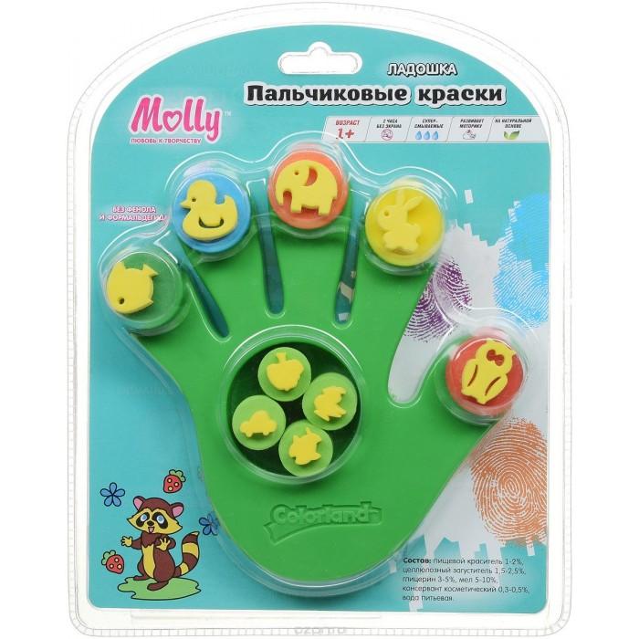 Краски Molly Пальчиковые краски со штампиками Ладошка 5 цветов 10.5 мл краски спейс краски пальчиковые 6 цветов сенсорные