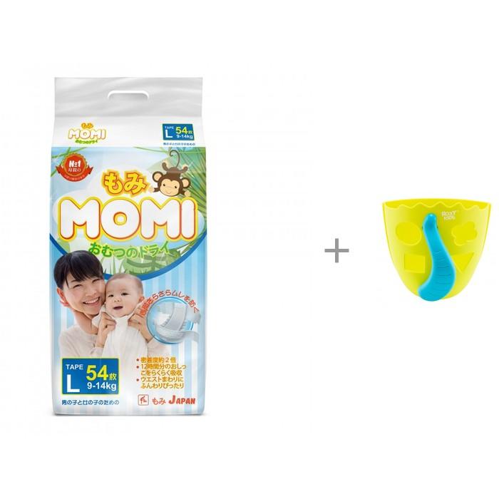 Momi Подгузники L (9-14 кг) 54 шт. и ROXY Органайзер-сортер для игрушек в ванную DINO