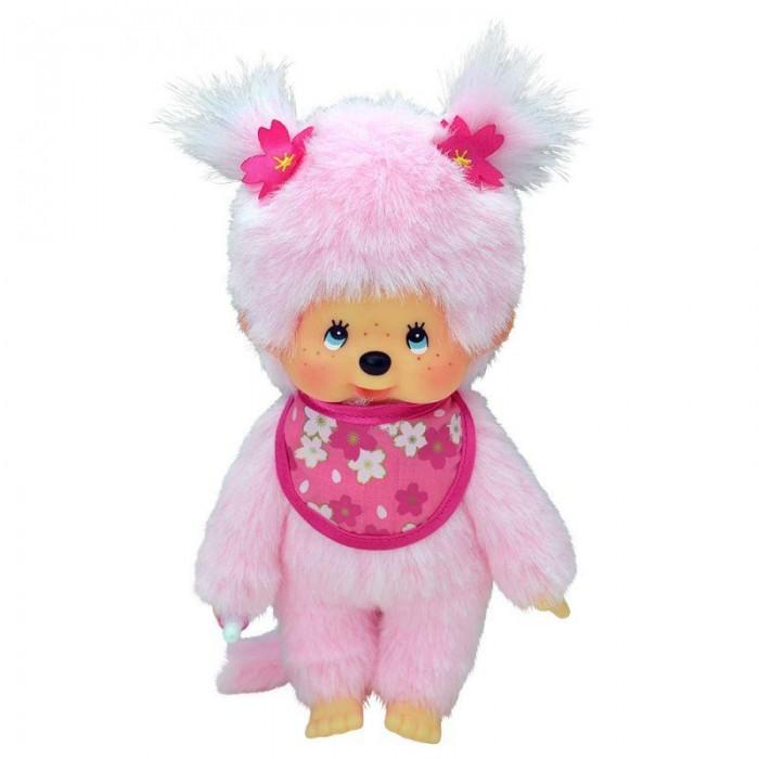 Мягкая игрушка Monchhichi Девочка с розовой шерсткой в слюнявчике Сакура 20 см