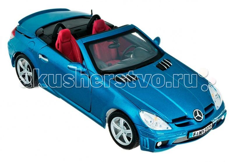 MotorMax Автомобиль 1:18 MercedesBenz SLK55 А/мGАвтомобиль 1:18 MercedesBenz SLK55 А/мGMotorMax Автомобиль 1:18 MercedesBenz SLK55 А/мG - с эффектным интерьером заставляет сердце любого автолюбителя биться чаще. Эта модель станет подлинным украшением вашей коллекции автомобилей.   Реализация масштабной копии Mercedes Benz SLK66 AMG, созданная гонконгским брендом MOTORMAX, впечатляет. Модель не только включает в себя весь функционал, присущий качественным коллекционным машинкам (открывающиеся двери, багажник, капот, детально проработанный салон, моторный отсек, поворачивающиеся колеса), но еще имеет необычную особенность – крыша этого купе складывается в багажник, как у настоящего авто.  Корпус машинки отлит из металла по технологии die cast, декорирован пластиковыми элементами. Колеса оснащены резиновыми шинами. Эта модель в премиальной упаковке станет превосходным подарком любому представителю сильного пола вне зависимости от его возраста. К заказу доступны машинки расцветки серый и голубой металлик.  Масштаб модели: 1:18<br>