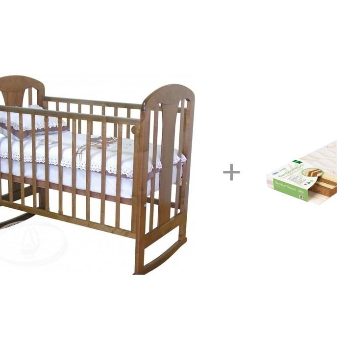 Детские кроватки Можга (Красная Звезда) С 703 ЗН Вилона накладка Жираф (качалка) с матрасом Плитекс Bamboo Nature