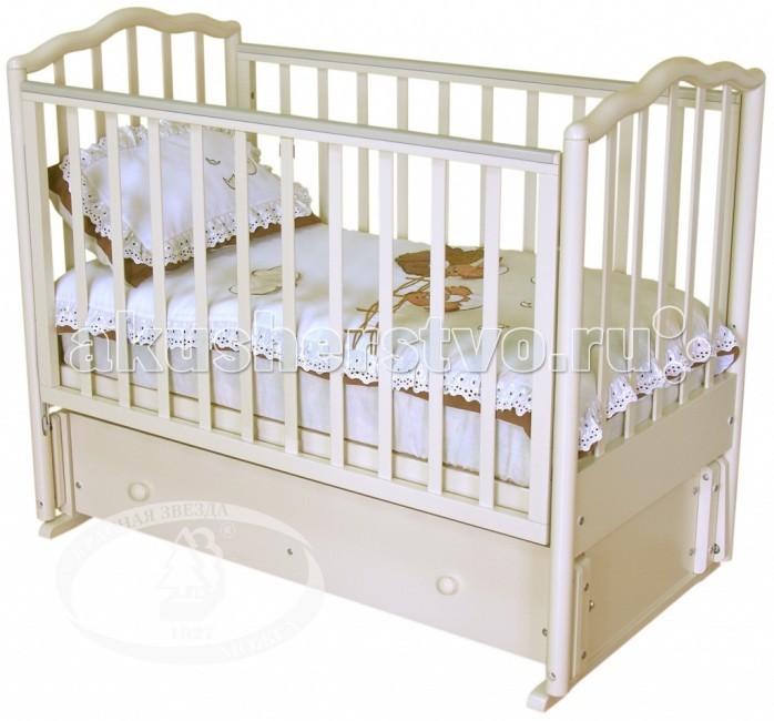 Детская кроватка Можга (Красная Звезда) Ангелина С-676 продольный маятникАнгелина С-676 продольный маятникДетская кроватка Можга (Красная Звезда) Ангелина С-676 продольный маятник обеспечит комфортный и спокойный сон вашему ребенку, а родителям удобство. Благодаря запатентованному механизму опускания боковой стенки её можно зафиксировать в нескольких положениях, что просто необходимо в первые жизни малыша, для облегчения нагрузки мамы. В дальнейшем переднюю стенку можно снять вовсе и ваш ребенок с легкостью будет сам залезать в кроватку. Удобный и вместительный ящик для белья сделает кроватку ещё более практичной. Благодаря безупречно гладкой обработке дерева у малыша будут возникать только приятные ощущения от прикосновений к кроватке и это исключает возможность возникновения царапин на нежной коже малыша.  Кроватка Ангелина Можга выполнена из березы, которая отличается повышенной прочностью и износостойкостью. Детская кроватка обработана нетоксичными лаками, что делает её безопасной в использовании.  механизм качения: продольный маятник  2 уровня регулирования ложа по высоте  опускаемое боковое ограждение  плоские стойки ограждения, 2 стойки съемные вместительный выдвижной закрытый ящик  возможность трансформации в диван<br>