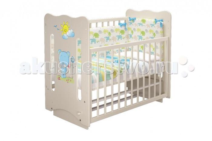 Детская кроватка Можгинский лесокомбинат Руслана-2 Медвежёнок Laluca (маятник поперечный)