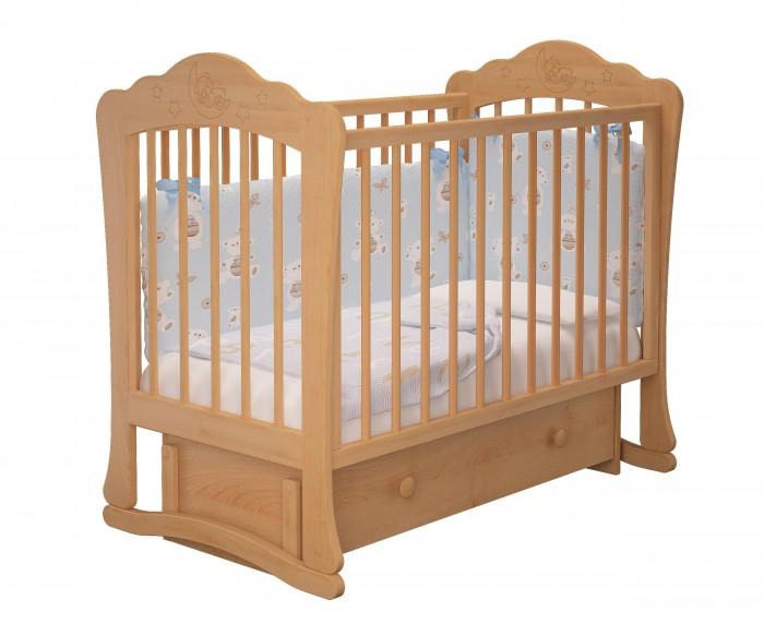 Детская кроватка Можгинский лесокомбинат Амалия-3 универсальный маятник МиланоАмалия-3 универсальный маятник МиланоМожгинский лесокомбинат Детская кроватка Амалия-3 универсальный маятник Милано  Кроватка рассчитана для детей от рождения до 3 - 4 лет Спальное ложе регулируется и имеет 3 уровня высоты Передняя стенка имеет удобный запатентованный механизм опускания, которую в последствии можно снять целиком Резной рисунок на спинке кроватки в виде мишки на луне в окружении звездочек внесет уют в спальню новорожденного Прутики у кроватки сделаны круглыми, что физиологически правильно для маленькой детской ручки Кроватка дополнена большим ящиком с бесшумным выкатным механизмом для хранения детских вещей или постельного белья Детская кроватка оснащена универсальным маятником: вы можете качать кровать в одной горизонтальной плоскости вдоль длинной стенки, а так же качение маятника происходит вдоль короткой стенки (в зависимости от сборки кроватки) Все используемые при производстве кроватки лакокрасочные материалы не токсичны и безвредны для здоровья малыша Кроватка изготовлена из массива березы.  Размеры: Размеры спального ложа: 120 х 60 см Размер кроватки: 125 х 112 х 76.8 см.<br>