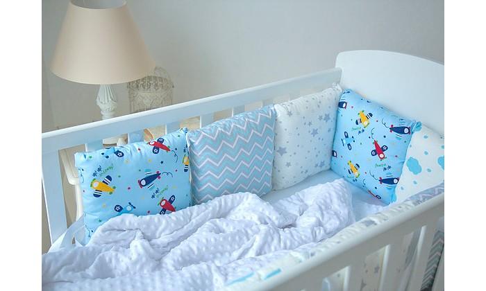 Постельные принадлежности , Бортики в кроватку Mummys Hugs Самолеты в облаках для кроватки 120х60 арт: 425814 -  Бортики в кроватку