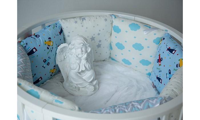 Постельные принадлежности , Бортики в кроватку Mummys Hugs Самолеты в облаках для круглой кроватки 125х75 арт: 425804 -  Бортики в кроватку