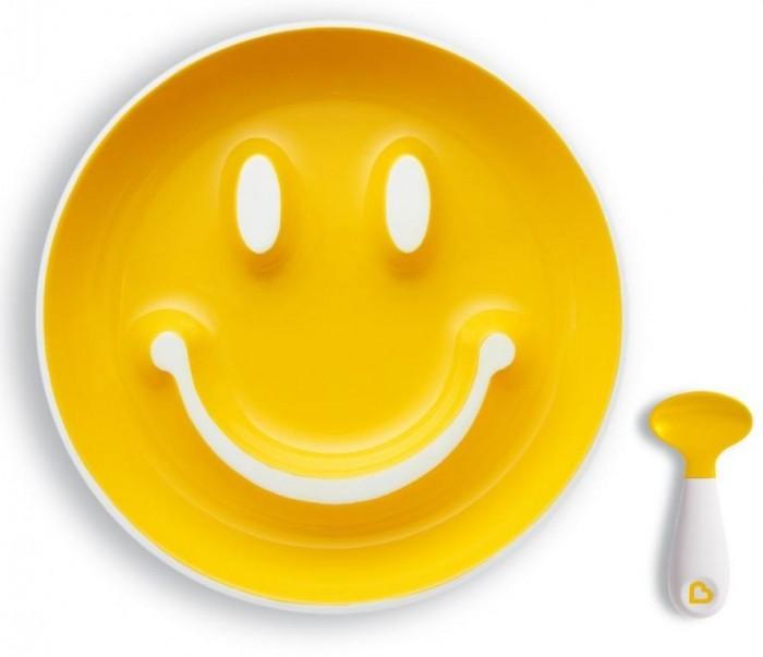 Купить Посуда, Munchkin Набор Улыбка: тарелка на присоске и ложка