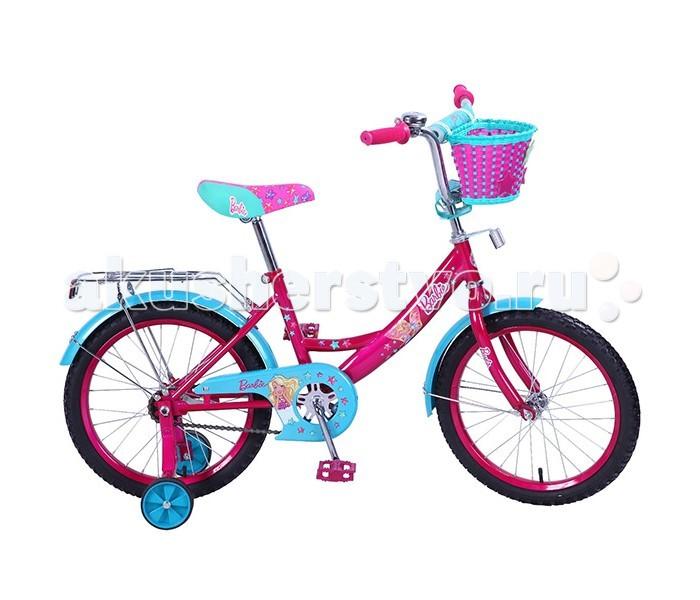 """Велосипед двухколесный Mustang Barbie 18Barbie 18Велосипед двухколесный Mustang Barbie 18 - яркий и стильный  велосипед для девочек.   Особенности:  размер колес 18 дюймов,   стальная классическая рама а-тип,   1 скорость,   задний ножной тормоз,   регулируемый хромированный руль bmx с мягкой защитной накладкой,   сидение с пенным наполнителем,   багажник с пружинным зажимом,   звонок,   плетеная корзина на руле,   цветные педали,   страховочные колеса с усиленным кронштейном,   защита цепи """"p"""" типа,   крашенные крылья,   стальные крашенные обода,   ограничитель поворота руля.до 40 кг<br>"""