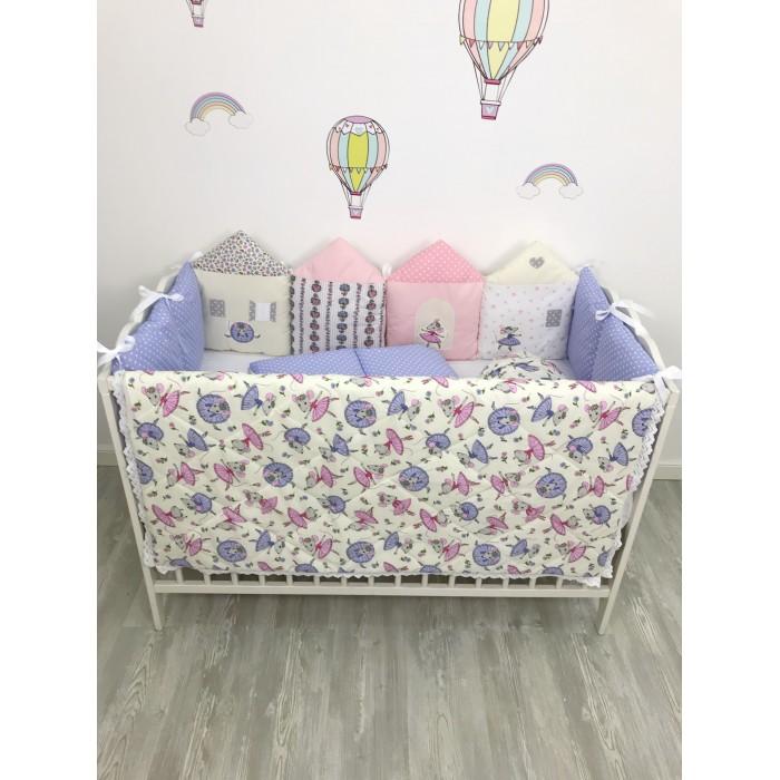 Комплект в кроватку My Baby Домики с мышками (9 предметов)