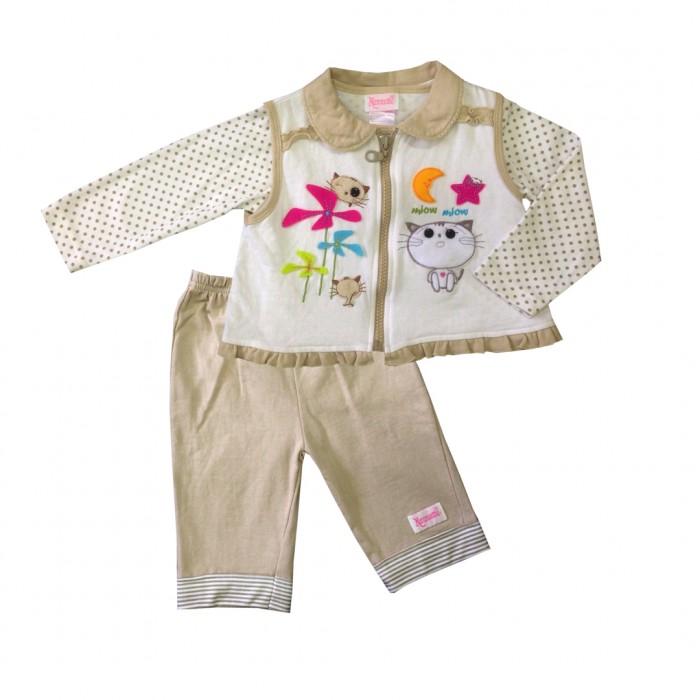 Nannette Комплект для девочки (кофточка, штанишки и жилет) 14-2265