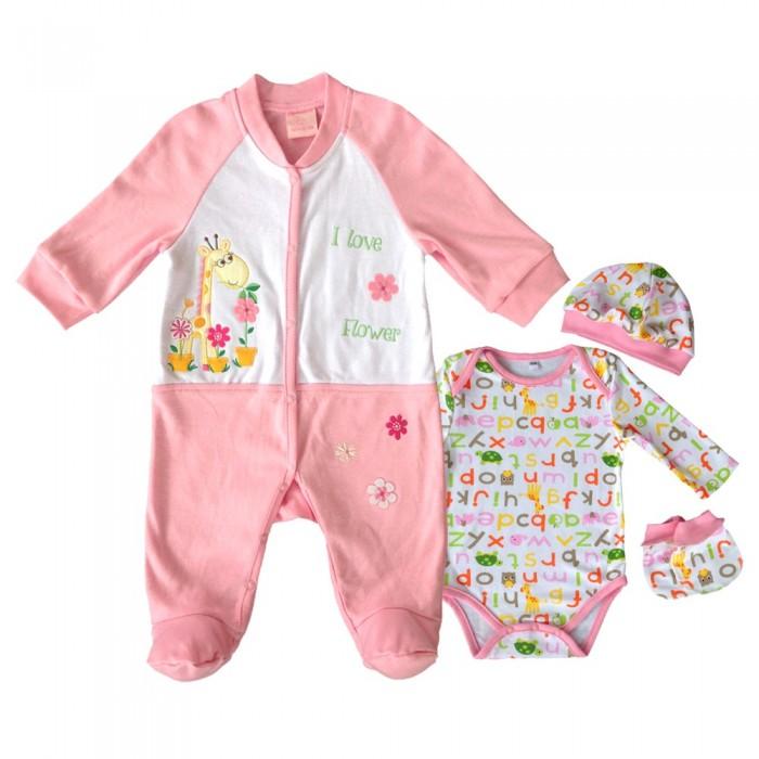 Комплекты детской одежды Nannette Комплект (рампер, боди, шапочка, царапки) 14-2887 комплекты детской одежды nannette комплект 5 предметов 14 2875