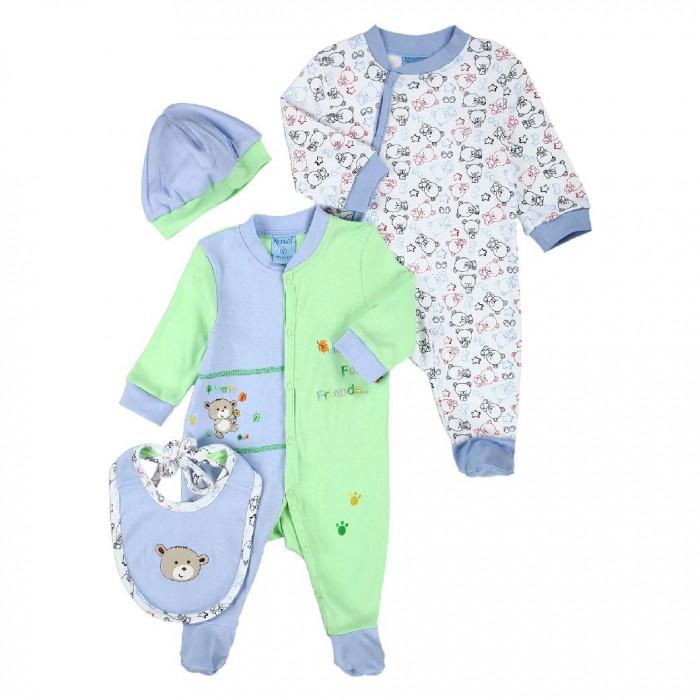 Комплекты детской одежды Nannette Комплект (рампер, боди, шапочка, царапки) 14-2893 все цены