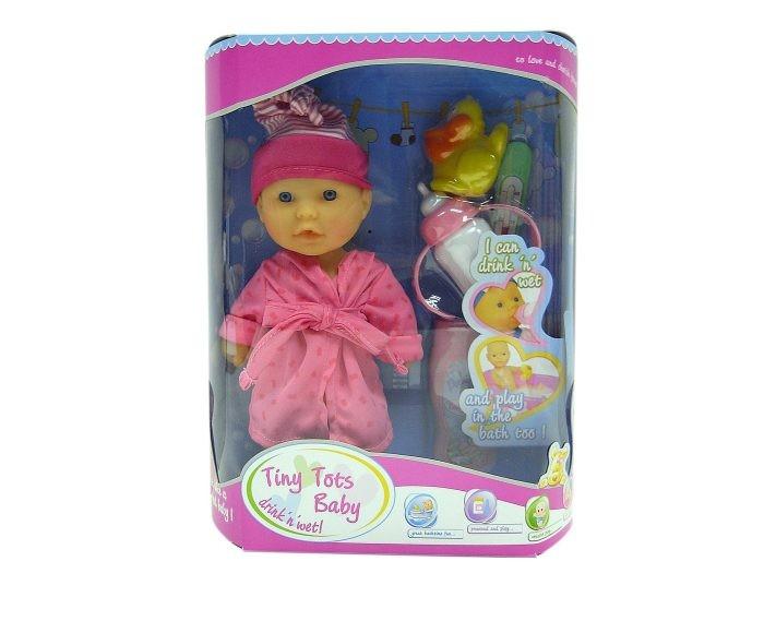 Куклы и одежда для кукол, Наша Игрушка Пупс в халате с аксессуарами 23 см 15154-1  - купить со скидкой