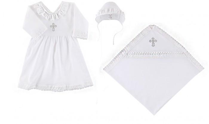 Наша Мама Крестильный набор для девочки (пеленка, платье, чепчик)