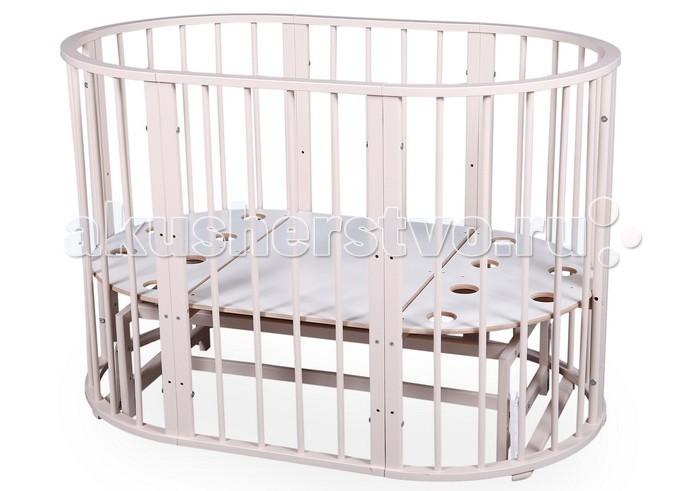 Кроватка-трансформер Nastella Baby Molly 7 в 1 (поперечный маятник)Baby Molly 7 в 1 (поперечный маятник)Кроватка Nastella Baby Molly 7 в 1 (поперечный маятник) которая может использоваться по нескольким назначениям. Кроватка способна превращаться из люльки в кроватку, из кроватки в небольшой диванчик, из диванчика в стол с двумя креслами.  У кровати-трансформера идеально гладкое, массивное основание; 3 уровня высоты у кроватей и стульев.  Варианты сборки: круглая кровать - матрас диаметром 75 см овальная кровать - матрас 125 х 75 см  диванчик  - матрас 125 х 75 см манеж стул стул пеленальный стол/стол для творчества.<br>