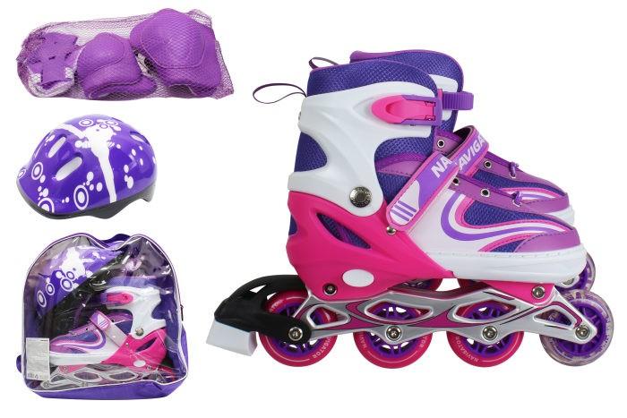 Детские ролики Navigator колеса PVC со светом с комплектом защиты  - купить со скидкой
