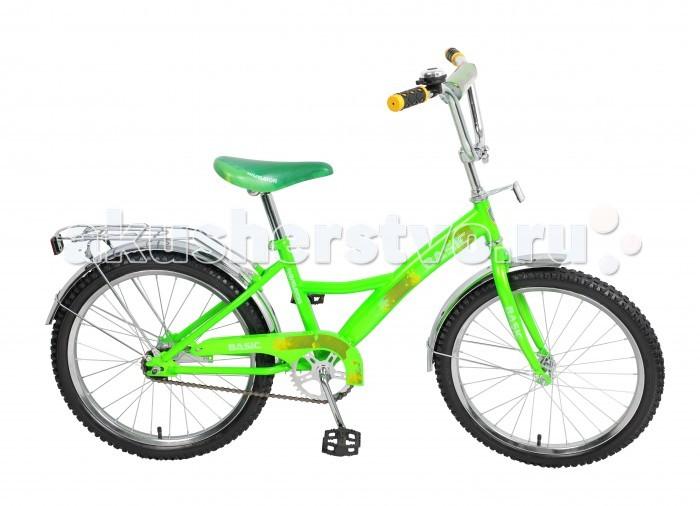 Велосипед двухколесный Navigator Basic 20 KiteBasic 20 KiteВелосипед Navigator Basic 20 Kite - это хорошо собранный и надёжный велосипед для ребёнка. Модель подойдет для ребенка ростом 125-145 см.   Велосипед оснащен звонком и багажной корзиной. Катание на велосипеде благоприятно влияет на здоровье, укрепляет мышцы, развивает зрение, учит ориентироваться в пространстве и принимать решения.   Особенности: Тип: детский Материал рамы: сталь Амортизация: отсутствует Конструкция вилки: жесткая Конструкция рулевой колонки: неинтегрированная, резьбовая Диаметр колес: 20 дюймов Материал обода: алюминиевый сплав Двойной обод: нет Шатун: односоставной Возможность крепления боковых колес: нет Тип переднего тормоза: отсутствует Тип заднего тормоза: ножной Уровень заднего тормоза: начальный Количество скоростей: 1 Уровень каретки: начальный Конструкция каретки: неинтегрированная Тип посадочной части вала каретки: квадрат Количество звезд в кассете: 1 Количество звезд системы: 1 Конструкция педалей: платформы Конструкция руля: изогнутый Настройка положения руля: регулируемый подъем Материал рамки седла: сталь Комфорт: защита цепи, мягкая накладка на руле<br>