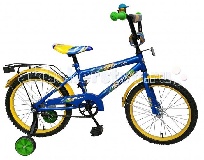 Велосипед двухколесный Navigator Buddy 18 HBBuddy 18 HBВелосипед двухколесный Navigator Buddy 18 HB сможет стать первым транспортным средством ребенка и порадует его своим оригинальным дизайном. Конструкция данного транспортного средства изготовлена из металла, что гарантирует надежность и долговечность эксплуатации.  Велосипед обладает отличными техническими характеристиками и стильным внешним видом, который непременно привлечет внимание окружающих. Изделие снабжено страховочными колесами, благодаря которым дети смогут более уверенно научиться ездить и держать равновесие.   Особенности: однокомпонентный кареточный узел камеры из натуральной резины стальные обода покрышки 18 х 2,125 задний ножной тормоз вставки в колесах широкие страховочные колеса звонок возраст от 6 до 9 лет.<br>