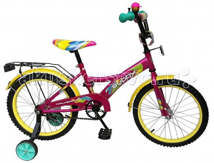 Велосипед двухколесный Navigator Buddy 18 KiteBuddy 18 KiteВелосипед двухколесный Navigator Buddy 18 Kite сможет стать первым транспортным средством ребенка и порадует его своим оригинальным дизайном. Конструкция данного транспортного средства изготовлена из металла, что гарантирует надежность и долговечность эксплуатации.  Велосипед обладает отличными техническими характеристиками и стильным внешним видом, который непременно привлечет внимание окружающих. Изделие снабжено страховочными колесами, благодаря которым дети смогут более уверенно научиться ездить и держать равновесие.   Особенности: однокомпонентный кареточный узел камеры из натуральной резины стальные обода покрышки 18 х 2,125 задний ножной тормоз вставки в колесах широкие страховочные колеса звонок возраст от 6 до 9 лет.<br>