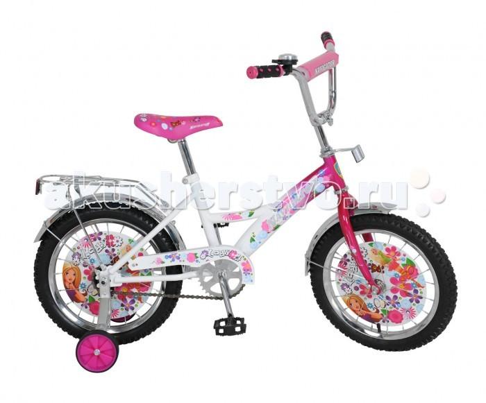 Велосипед двухколесный Navigator Lady 16Lady 16Велосипед Navigator Lady 16 ВН16078 для девочек с комфортным сидением, защитным щитком и колесными дисками весь украшен разнообразными цветочками и имеет в своем распоряжении 2 страховочных колеса, которые помогут ребенку сохранить равновесие. Также на бело-розовом велосипеде установлены звоночек и багажник, на котором можно закрепить разнообразные грузы.  Особенности: Рост ребенка: 100-125 см. Диаметр колес: 16 дюймов. Тормоз: ножной.<br>