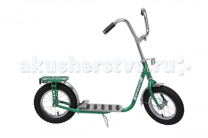Двухколесный самокат Navigator с надувными колесамис надувными колесамиЯркий и легкий самокат Navigator выполнен из нержавеющей стали. Самокат с пневматическими (надувными) колесами обеспечивает комфортное передвижение по любой поверхности. У самоката большой велосипедный руль, багажник, задний ножной тормоз.  Особенности: Колёса: 12 х 2.40 дюймов Максимальная нагрузка: 40 кг Вес самоката: 6.2 кг Материал: сталь Камеры из натуральной резины Стальные обода Задний ножной тормоз наступающий (step-on brake) Подножка Багажник  Длина платформы для ноги - 35 см Длина самоката - 107 см Регулируемая высота руля от 86 до 91 см<br>