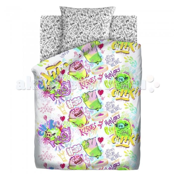 Постельное белье 1.5-спальное Непоседа Angry Birds Плохие свинки 1.5-спальное (3 предмета) постельное белье 1 5 спальное непоседа смайлы 1 5 спальное 3 предмета
