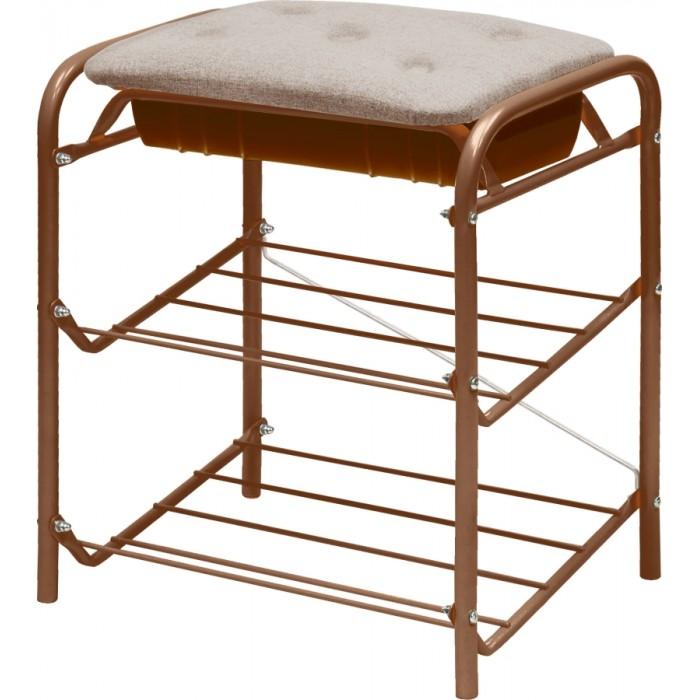 Мягкие кресла Ника Банкетка для обуви 2-полки с мягким сиденьем и ящиком (ткань)