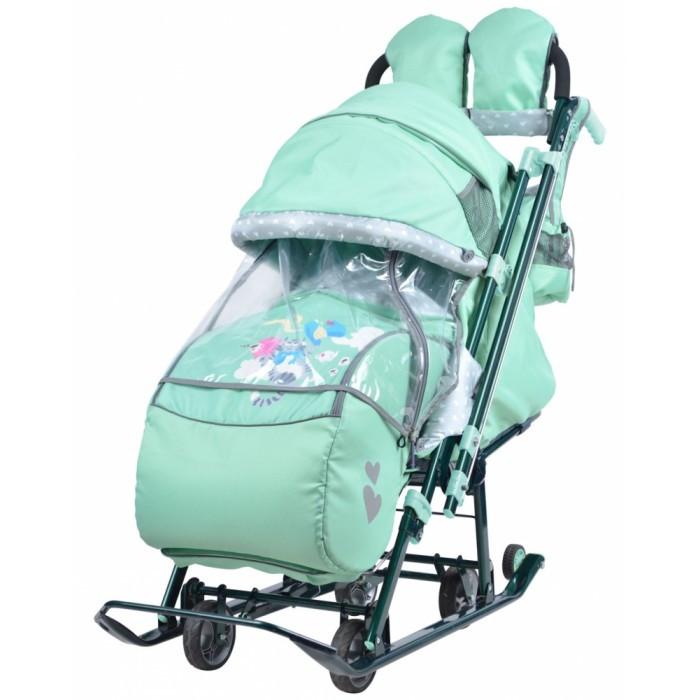 Санки-коляска Ника Детям 7-4Санки-коляски<br>Санки-коляска Ника Детям 7-4 предназначены для перевозки детей в положении сидя и лежа.  Коляска комбинированная с трансформируемым кузовом позволяет передвигаться по любой дороге. Нажатием ноги на педаль опускаются колеса, и вы можете везти коляску по асфальту или по гладкому полу. Еще одно нажатие — коляска трансформируется в санки и снова скользить по снегу!  Особенности: • плоские полозья 40 мм • высокопрочный стальной цветной каркас • механизм смены полозьев на колеса (выдвижная колесная база) • высокий складной трехсекционный козырек с увеличенной высотой по спинке позволяет чувствовать себя комфортно малышу в шапке с помпоном • спинка регулируется до положения лежа • подножка для ног с регулируемым углом наклона, позволяющая ребенку в положении лежа комфортно вытягивать ножки • светоотражающий кант и элементы на чехле • широкое посадочное место 400 мм • чехол для ног с 2-мя молниями для удобного открывания с двух сторон • смотровое окошко для наблюдения за ребенком • яркий рисунок на чехле • рукавички для мамы • трехточечный ремень безопасности • обрезиненные колеса на полозьях для удобной транспортировки  Новые опции: • перекидная ручка — трость • рычаги управления механизмом перемещения ручки находится у рукоятки • фиксация ручки автоматическая • удобный карман на спинке чехла коляски • бампер, обтянутый тканью в цвет чехла • трансформируемый конверт-вкладыш на молнии • новый дизайн сумки с кармашками для полезных мелочей • съемный прозрачный тент от ветра и дождя с двумя молниями, крепится к чехлу коляски на пуговицу для исключения продувания • возможность крепления тента на козырьке коляски с помощью пуговицы для удобства доступа к ребенку  Размеры: длина х ширина х высота см: 119 х 44,5 х 112/106,5 см Ширина посадочного места: 38,5 см (размер по стойкам рамы) Ширина по колесампо полозьям: 34 см (передние)/26 см (задние), 44,5 см - положение на лыжах Диаметр колес: 12 см Ширина полозьев: 20 х 40 мм Высота до си