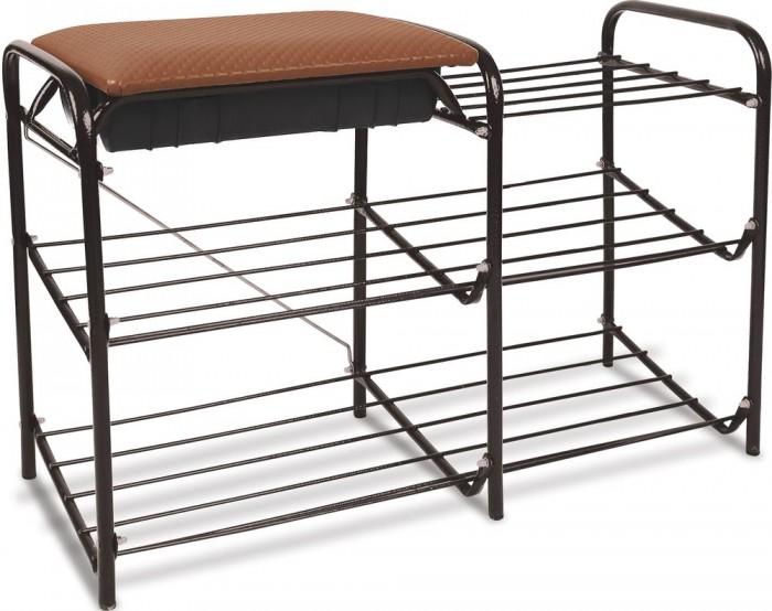 Мягкие кресла Ника Этажерка для обуви 3-полки с мягким сиденьем и ящиком