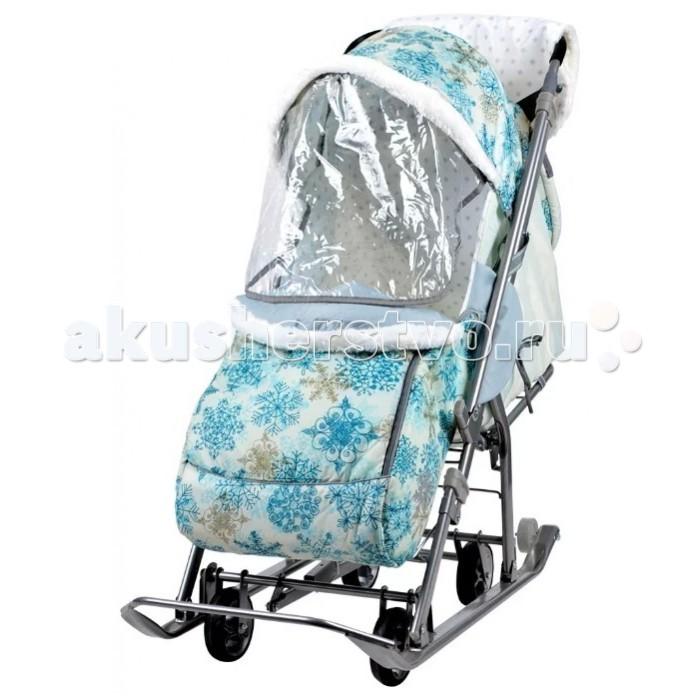 Санки-коляска Ника НашиДетки НДТНашиДетки НДТСанки-коляска Ника НашиДетки НДТ предназначены для перевозки детей в положении сидя и лежа.  Чехол выполнен из влагонепроницаемого износоустойчивого полиэстера.  Санки-коляска комбинированная с трансформируемым кузовом позволяет передвигаться по любой дороге. Нажатием ноги на педаль опускаются колеса, и вы можете везти коляску по асфальту или по гладкому полу. Еще одно нажатие — коляска трансформируется в санки и снова скользить по снегу!  Характеристики: плоские полозья 40 мм высокопрочный стальной каркас механизм смены полозьев на колеса (выдвижная колесная база) высокий складной трехсекционный козырек с увеличенной высотой по спинке позволяет чувствовать себя комфортно малышу в шапке с помпоном козырек с меховой окантовкой спинка регулируется до положения лежа подножка для ног с регулируемым углом наклона, позволяющая ребенку в положении лежа комфортно вытягивать ножки перекидная ручка чехол для ног с молнией для удобного открывания широкое посадочное место 400 мм смотровое окошко для наблюдения за ребенком яркий рисунок на чехле муфта с оконтовкой мехом новый дизайн сумки с кармашками для полезных мелочей пятиточечный ремень безопасности съемный прозрачный тент колеса на полозьях для удобной транспортировки  Размер в разложенном виде: 109х44.5х100 см Размер в разложенном виде с выдвинутой колесной базой: 109х44.5х106 см Размер в сложенном виде: 110х44.5х28 см<br>