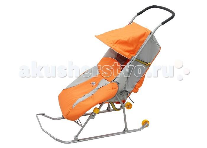 Санки-коляска Ника Тимка 2 Комфорт +Тимка 2 Комфорт +Санки-коляска Тимка 2 Комфорт + предназначены для перевозки детей в положении сидя.  Чехол выполнен из влагонепроницаемого износоустойчивого полиэстера.  Прочный и легкий металлический каркас, легко складывается.  Широкие полозья обеспечивают легкое скольжение по снегу.  Характеристики: плоские полозья 40 мм трехточечный ремень безопасности складной козырек с прозрачным тентом плавная регулировка спинки чехол для ног светоотражающий кант колесо для удобной транспортировки<br>