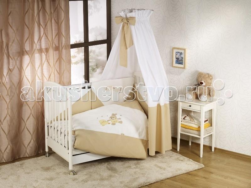 Комплект в кроватку Nino Baile (6BB предметов)Baile (6BB предметов)Детское постельное белье Nino было разработано специально, чтобы обеспечить новорожденному спокойный сон, так необходимый для правильного развития. Особое внимание уделяется качеству и мягкости хлопчатобумажной ткани.   Благодаря применению инновационной системы Easy Wash комплект Baile BB характеризуется практичностью в использовании, простотой стирки и глаженья борта без риска испортить наполнитель. Использование метода Even Fill обеспечивает равномерное расположение наполнителя.   Материал: 100% хлопок, наполнение - полиэстер  В комплекте 6 предметов:  пододеяльник: 135 х 100 см  наволочка: 60 х 40 см  одеяло: 135 х 100 см  подушка: 60 х 40 см  борт: 180 см (на половину кроватки)  простынь на резинке<br>