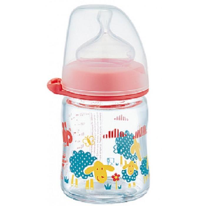 Купить Бутылочки, Бутылочка NIP Girl Антиколиковая стеклянная с силиконовой соской с 0 мес. 120 мл