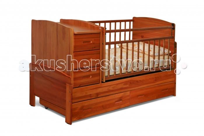 Кроватка-трансформер Noony Wood Chalet поперечный маятникWood Chalet поперечный маятникКроватка-трансформер Noony Wood Chalet поперечный маятник – это самая безопасная кровать-трансформер, выполненная из цельного дерева и покрытая нетоксичными лаками.    Она включает кроватку для новорожденного, вместительный пеленальный комод, а также колыбель поперечного качания. Комод и колыбель можно располагать c любой стороны кроватки.   Когда ребенок подрастет кроватка-трансформер легко и просто трансформируется в просторную подростковую кровать, прикроватную тумбу, а также в навесные полки под детские книжки и игрушки, поэтому экологически безопасная Noony Wood Chalet прослужит Вам на протяжении 10-12 лет.  Особенности: маятник поперечного качания защита опускания передней стенки 2 уровня основания опускающаяся боковина механизм опускания комод с 3 ящиками выдвижные ящики в нижней части кровати  материал: 100% натуральное дерево (береза и сосна) Размеры пеленального столика: 36х66 см.<br>
