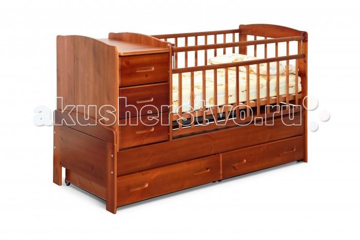 Кроватка-трансформер Noony Wood ChaletWood ChaletКроватка-трансформер Noony Wood Chalet – это самая безопасная кровать-трансформер, выполненная из цельного дерева и покрытая нетоксичными лаками.   Она включает кроватку для новорожденного и вместительный пеленальный комод. Комод можно располагать c любой стороны кроватки.   Когда ребенок подрастет кроватка-трансформер легко и просто трансформируется в просторную подростковую кровать, прикроватную тумбу, а также в навесные полки под детские книжки и игрушки, поэтому экологически безопасная Noony Wood Chalet прослужит Вам на протяжении 10-12 лет.  Особенности: защита опускания передней стенки 2 уровня основания опускающаяся боковина механизм опускания комод с 3 ящиками выдвижные ящики в нижней части кровати  материал: 100% натуральное дерево (береза и сосна) Размеры пеленального столика: 36х66 см.<br>
