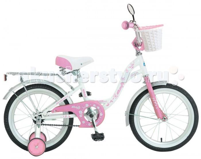 Велосипед двухколесный Novatrack Butterfly 20 ножной тормозButterfly 20 ножной тормозВелосипед двухколесный Novatrack Butterfly 20 ножной тормоз это велосипед для юных принцесс 7-10 лет.   Эта модель оснащена всем необходимым, для того, чтобы ребенок мог отправиться в увлекательное путешествие. Во-первых, на руле имеется зеркальце. Во-вторых, там же установлен великолепный гудок в стиле ретро, при помощи которого маленькая велосипедистка сможет вовремя сообщить зазевавшимся карапузам, что она тут катается. В-третьих, впереди прикреплена вместительная корзинка, куда можно сложить все необходимое.   Для устойчивости конструкции к заднему колесу добавлены еще 2 маленьких съемных колесика – упасть с такого велосипеда практически невозможно даже на крутом вираже. Сиденье и руль легко регулируются по высоте и надежно фиксируются. Для безопасности также установлена защита цепи, а на колесах имеются крылья и катафоты. Велосипед оборудован ножным тормозом, позволяющими при необходимости мгновенно остановиться.  Особенности: Количество скоростей: 1 Диаметр колес: 20 Материал рамы: Сталь Вилка: жесткая Обода: алюминиевые Багажник Защита тип-А<br>