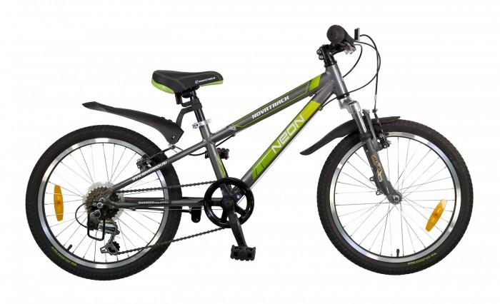 Велосипед двухколесный Novatrack Neon 20Neon 20Велосипед двухколесный Novatrack Neon 20 это по-настоящему безопасная модель и, к тому же, очень красивая внешне.   Рассчитана она на ребят 7-10 лет и оснащена по последнему слову не только велосипедной моды, но и техники. В частности велосипед оборудован системой переключения, рассчитанной на 6 скоростей, тормозами V-brake, прекрасно зарекомендовавшими себя на многочисленных краш-тестах. Все узлы и детали выполнены из сверхлегкого и суперпрочного алюминия, а крылья – из инновационного пластика.   Цепь надежно защищена специальным кожухом, что предотвращает серьезные поломки и уберегает велосипедиста от случайных травм. Небольшой вес велосипеда дает ребенку возможность самостоятельно выносить свое двухколесное транспортное средство на улицу. К тому же, модель удобно хранить в доме вне сезона: она займет совсем мало места в кладовой, шкафу-купе или просто в коридоре.  Особенности: Количество скоростей: 6 Диаметр колес: 20 Материал рамы: Алюминий  Манетки: Microshift RS-35 Вилка: амортизационная Задний переключатель: Shimano TY-21 Обода: алюминиевые Возраст: 7-10<br>